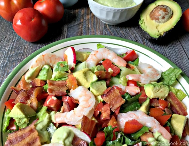 This shrimp BLT salad is simple and delicious! The classic combination of bacon, lettuce and tomato is even better with shrimp and avocado. Low carb and Paleo too!