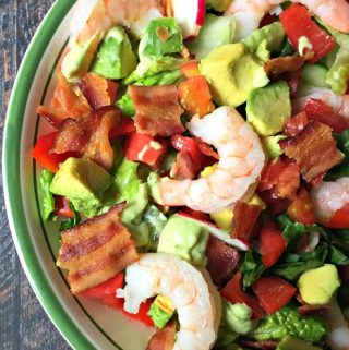 Thisshrimp BLT saladis simple and delicious! The classic combination of bacon, lettuce and tomato is even better with shrimp and avocado dressing. Low carb and Paleo too!