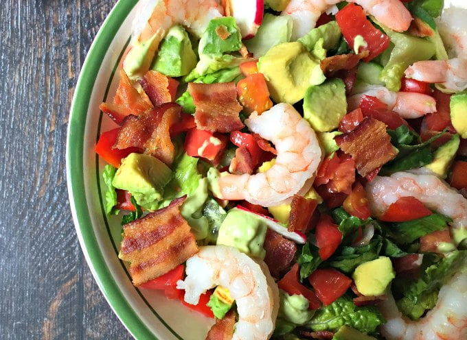 This shrimp BLT salad is simple and delicious! The classic combination of bacon, lettuce and tomato is even better with shrimp and avocado dressing. Low carb and Paleo too!