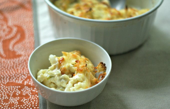 Enjoy all the comforts of a cheesy scalloped potato dish using cauliflower instead! This cheesy scalloped cauliflower is only 4.5g net carbs.