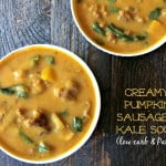 This delicious soup gets it's creaminess from a cauliflower puree and the pumpkin puree. A delicious healthy low carb comforting soup.