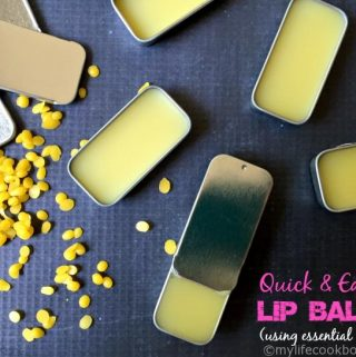 This is a super quick and easy recipe to make your own lip balm using essential oils. Only 3 ingredients and a few tips to help!
