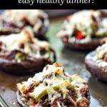 cookie sheet with low carb cheesesteak stuffed portobello mushrooms with text