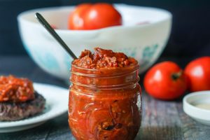 This low carb tomato jam is packed with flavor from the caramelized onions to the bacon to the sweetness of the tomatoes. Perfect on burgers, chicken or fish. Only 3.1g net carbs for 2 tablespoons!