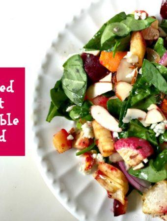 A delicious, colorful and healthy salad highlighting Fall's best root vegetables, blue cheese and almonds.
