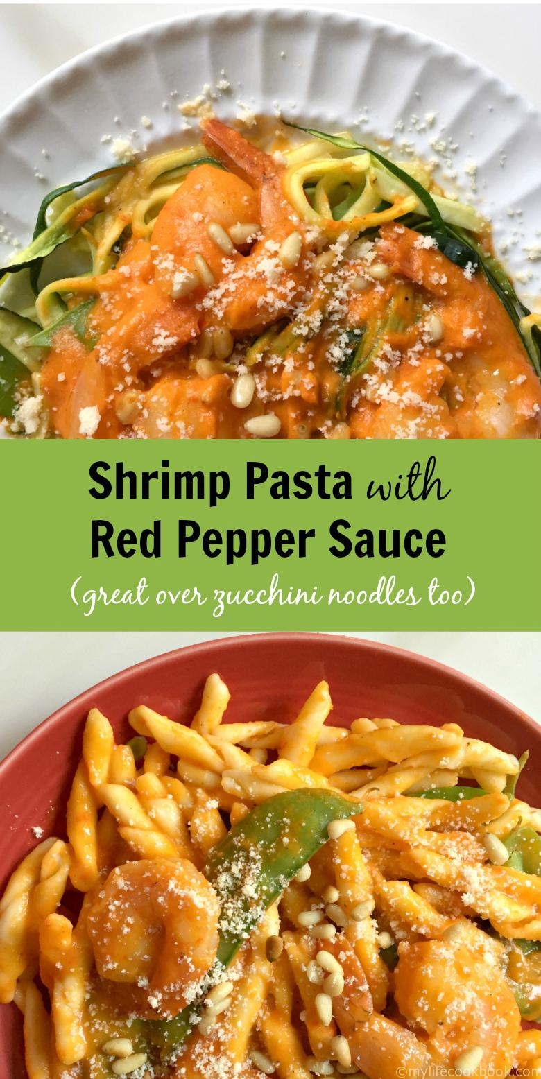 """This is a delicious and healthy dish using red peppers to make a creamy """"tomato-like"""" sauce. Quick, healthy and delicious dinner no time."""