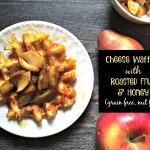 These tasty cheese waffles are grain free and nut free and topped with roasted apples, pears and honey!