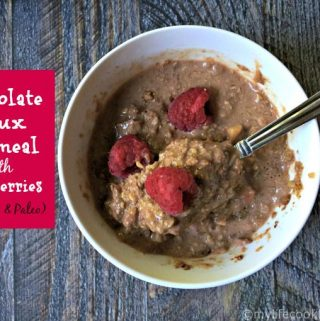 A delicious low carb and paleo substitute for oatmeal using chocolate and raspberries for added flavor. Eat as a hot cereal or sprinkle on coconut yogurt.