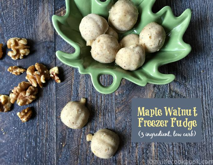 3 ingredients, low carb and delicious maple walnut freezer fudge will satisfy those sugar craving and fill you up too!