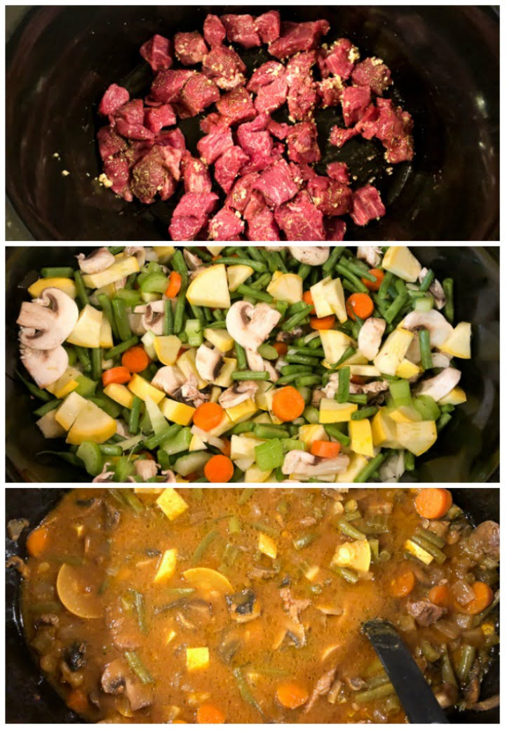 collage of how to make slow cooker stew - closeup of how to layer the food in the crock