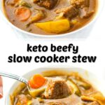 white bowls of keto beef stew with a spoon and text