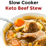 closeup of a white bowl of keto beef stew with a spoon and text
