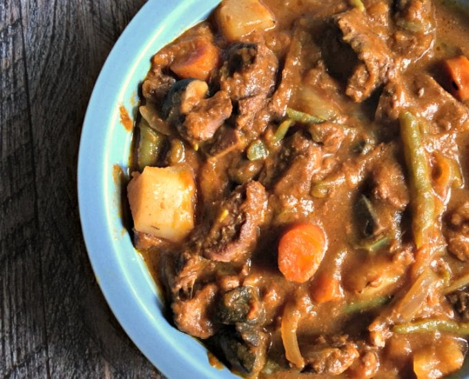 This Paleo slow cooker beef stew is easy to make and delicious. The secret ingredient is pumpkin. Come see how I make it!