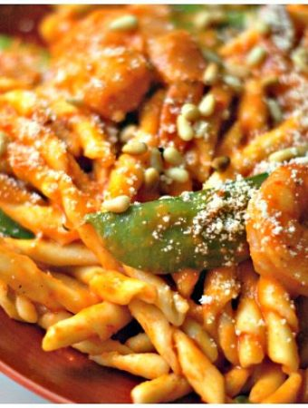 """This shrimp pasta with red pepper sauce is a simple and tasty dinner using red peppers to create a """"tomato-like"""" sauce. You can also eat this sauce with zucchini noodles for a low carb or Paleo dinner."""