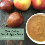 Easy peasy apple sauce made in your slow cooker with a little twist: pears and coconut sugar. So sweet and wholesome. Your family will love it and it!