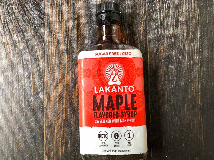 bottle of Lakanto Maple flavored syrup
