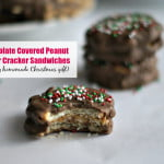 These chocolate covered peanut butter cracker sandwiches are so easy to make and taste better than Tagalongs cookies. An easy homemade Christmas gift for anyone.