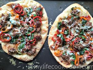 These flatbreads are so easy to make and customize. Add some sausage,peppers and spinach and top with Asiago cheese for a delicious quick and easy dinner that your family will love!