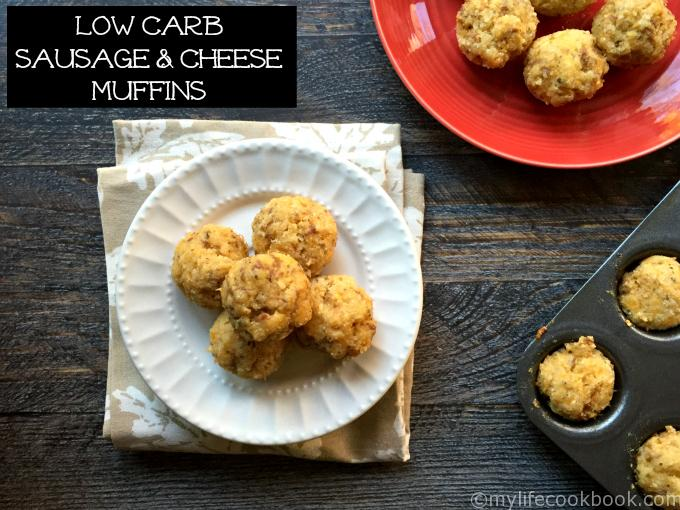 These delicious low carb sausage & cheese muffins make the perfect snack, breakfast or even appetizer. Easy to make and taste like a sausage and cheese pizza!