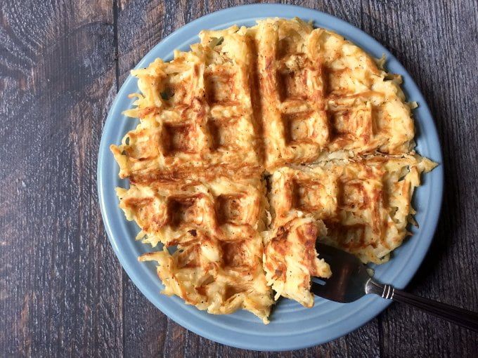 Tasty Paleo waffle hash browns made with celeriac. You won't miss the potatoes with this easy and delicious dish!