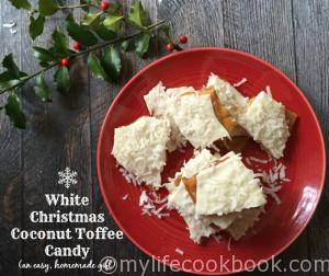 This coconut toffee candy is so easy to make and tastes delicious! It's a great homemade gift for teachers, neighbors and love ones.