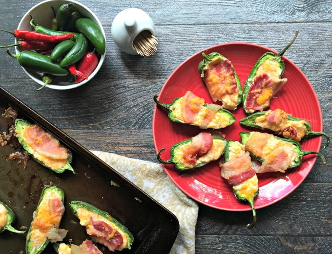 These bacon wrapped stuffed jalapeños are a delicious low carb appetizer or snack. So easy to make and you can even freeze them and cook later.