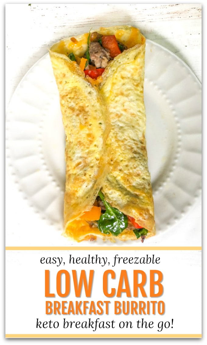white plates with low carb breakfast burrito and text overlay