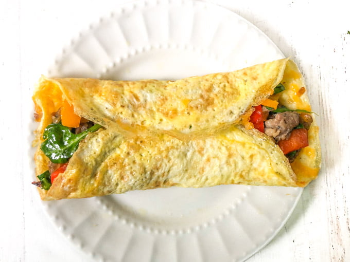 white plate with low carb breakfast burrito