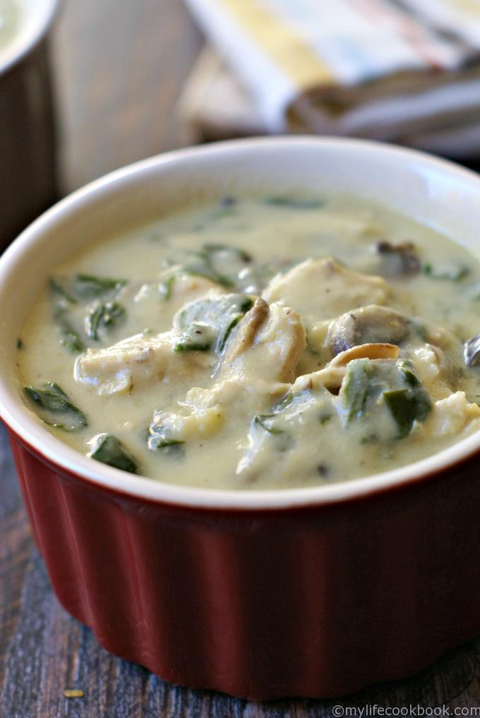 Creamy Chicken  Spinach Soup (using cauliflower cream)My Life