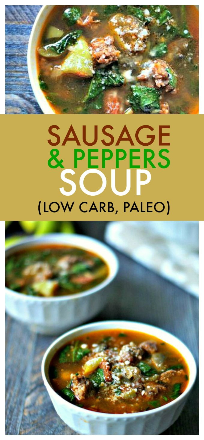 If you like stuffed banana peppers you will love this sausage & peppers soup! It's so easy to make and VERY flavorful. A tasty, warming low carb and Paleo soup.