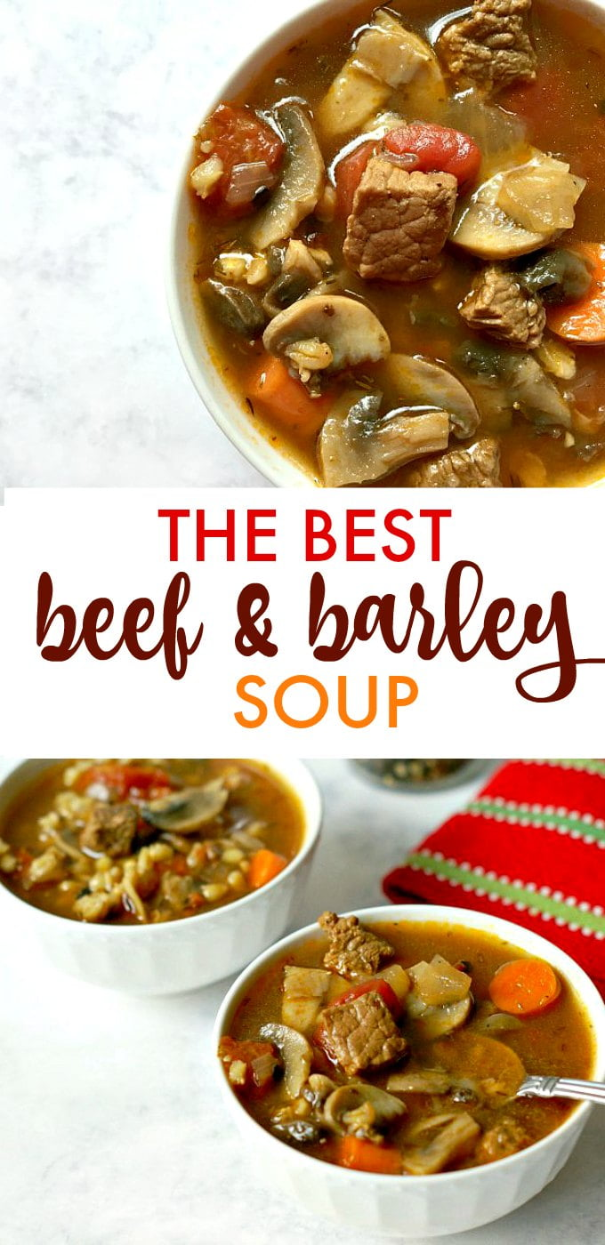 This is the best beef and barley soup according to my husband at least. Chunks of beef surrounded by barley, mushrooms, carrots in a savory thyme tomato broth.