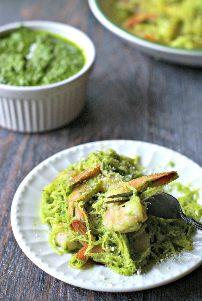 Spinach walnut pesto is easy to make all year round. Here we've used it with spaghetti squash and shrimp but it can also be used with vegetables, pasta, chicken and fish.