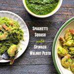 Spinach walnut pesto is easy to make and can be made year round. Here we've used it with spaghetti squash and shrimp but can also be used with vegetables, pasta, chicken and fish.