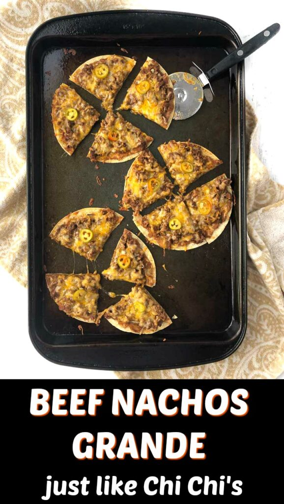 cookie sheet with beef nachos grande and text