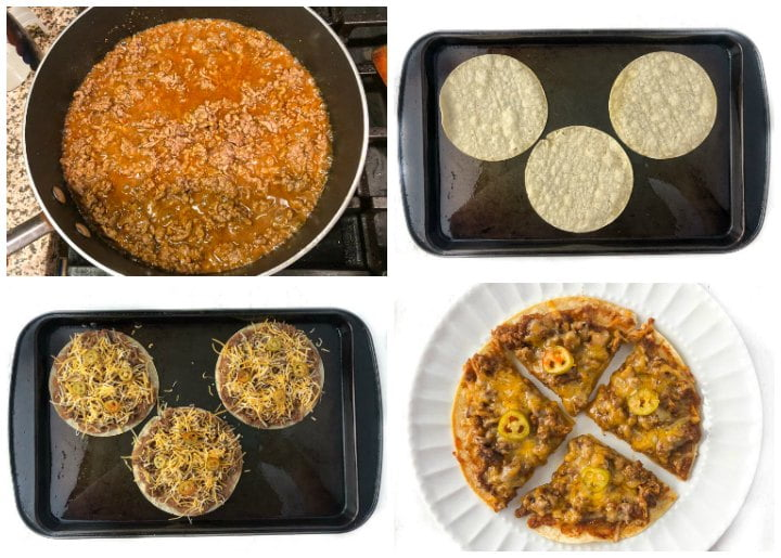 collage of pictures showing how to make beef nachos on corn tortillas
