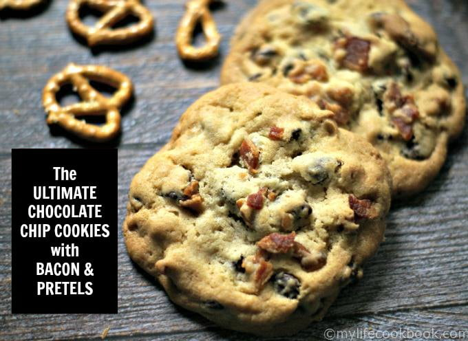close up of chocolate chip cookies with bacon and pretzels and text overlay
