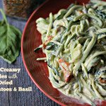A creamy sauce of garlic, basil and sundered tomatoes with zucchini noodles (zoodles). Only takes minutes to make!