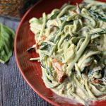 These easy creamy sun dried tomato & basil zoodles only take minutes to make. The zucchini noodleshave a creamy garlic, basil and sun dried tomatoes sauce that is decadent and delicious.