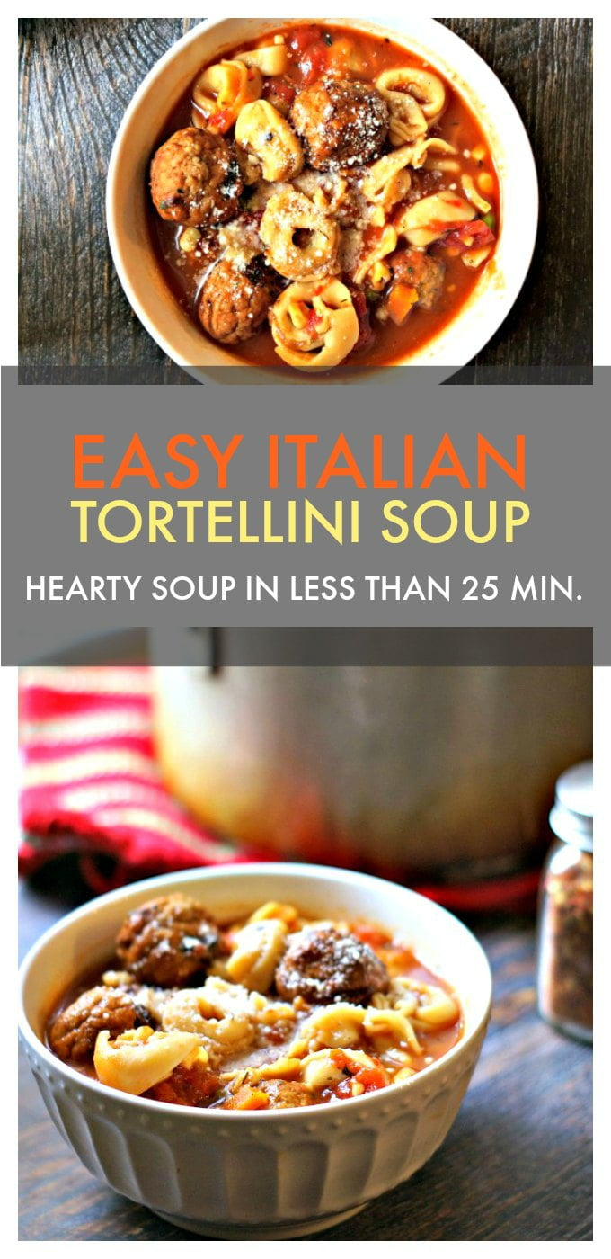 This easy Italian tortellini soup is a hearty soup with meatballs and Italian flavors. It takes less than 25 minutes - no chopping or dicing - and is satisfying as a meal.