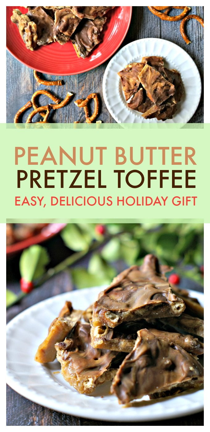 Chocolate peanut butter pretzel toffee has it all: salty, sweet, chocolate, crunch and peanut butter! Plus it's super easy to make and is a delicious gift to give. #homemadegift #toffee #peanutbutter #pretzelgift