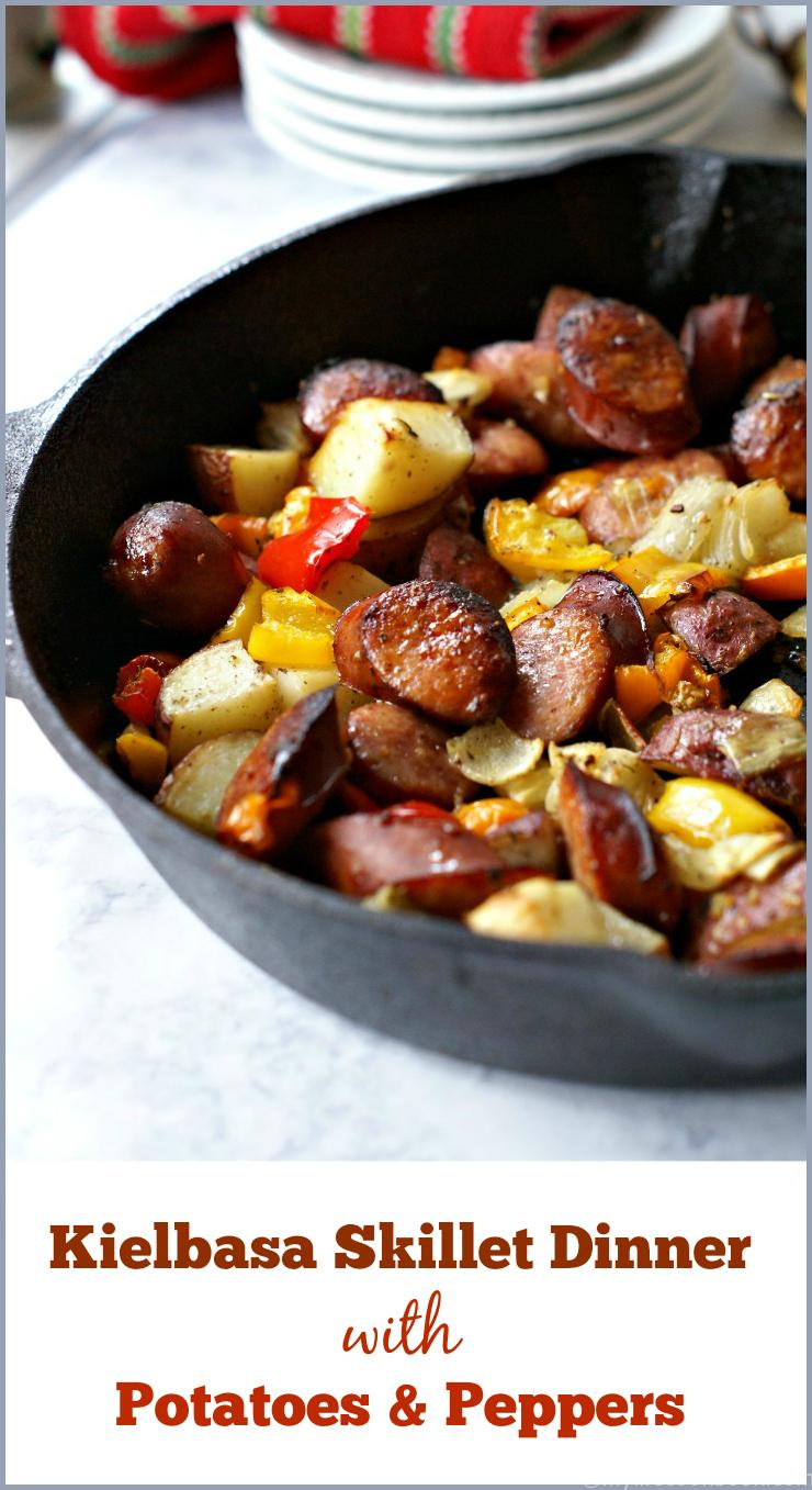 This kielbasa skillet dinner with potatoes and peppers is an easy and delicious dinner your family will love.
