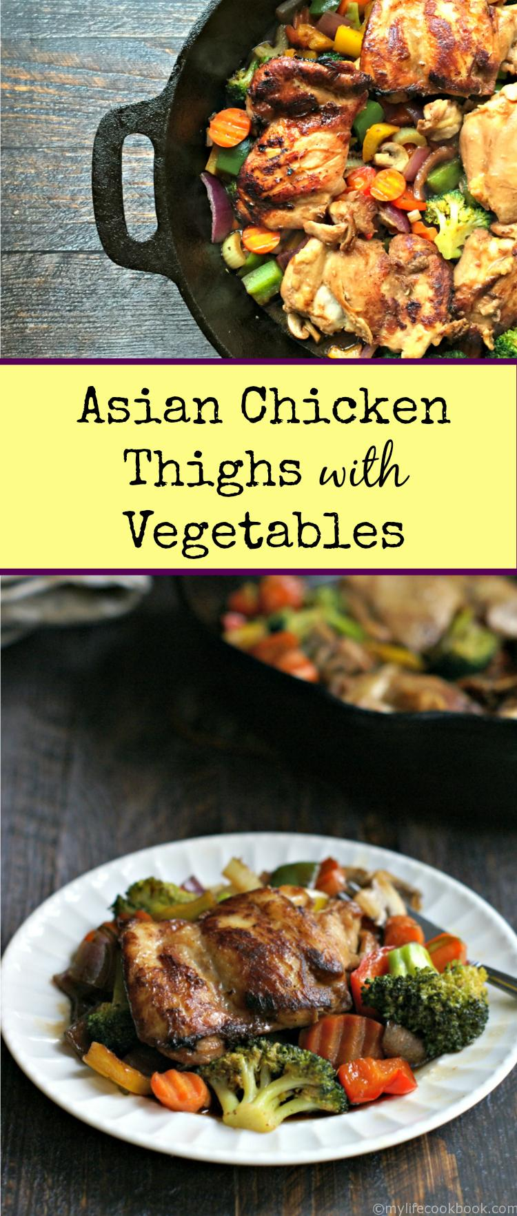 These Asian chicken thighs are an easy skillet dinner full of flavor. It's a yummy, inexpensive dish to work more vegetables in your diet.