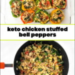 pan and dish with keto chicken stuffed bell peppers and text
