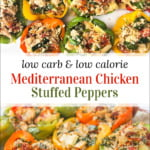 pan with keto chicken stuffed bell peppers and text