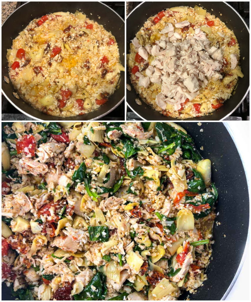 collage of pictures on how to make the Greek stuffing for the peppers