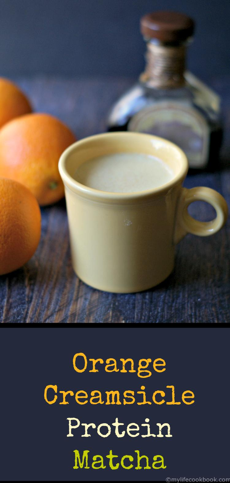 Enjoy the benefits of matcha tea in this tasty orange creamsicle protein matcha drink. Low carb and delicious, a great way to start your morning.