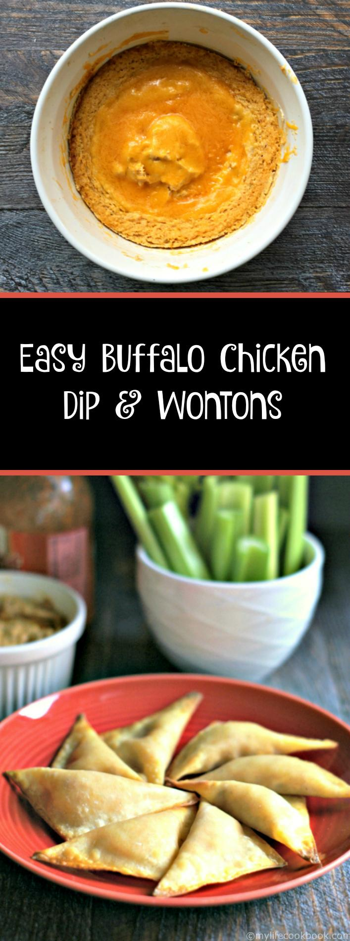 This easy buffalo chicken dip and wontons recipe is the perfect party food especially for game day parties.The wontons make great finger food and the dip can be used with veggies or chips.