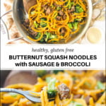 pan of sausage and butternut noodles with text