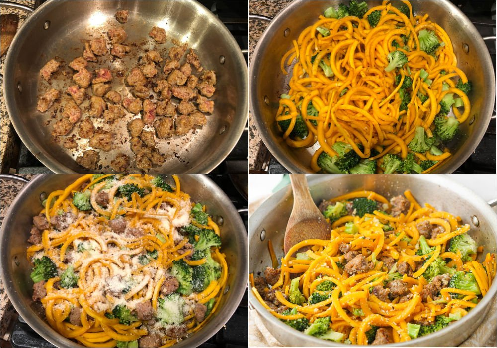 collage of pictures of stages of cooking sausage and squash noodles