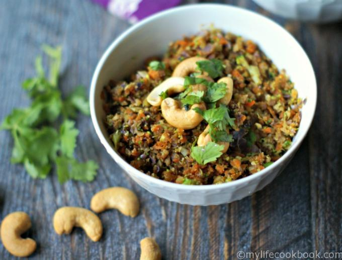 Cashew curried vegetable rice is quick and easy and healthy. No actual rice but vegetables made to be rice. Delicious!